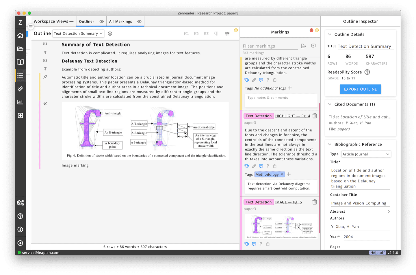 Pull together your work by writing beautiful notes in the outliner. Drag and drop all your research and Zenreader takes care of the citations.